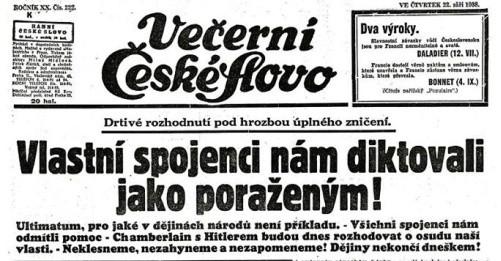 Il. 2 Czołówka pierwszej strona jednej z czeskich gazet z 22 września 1938 roku, dzień po złożeniu w Pradze pierwszej noty domagającej się oddania Polsce Zaolzia, za cs.wikipedia.org