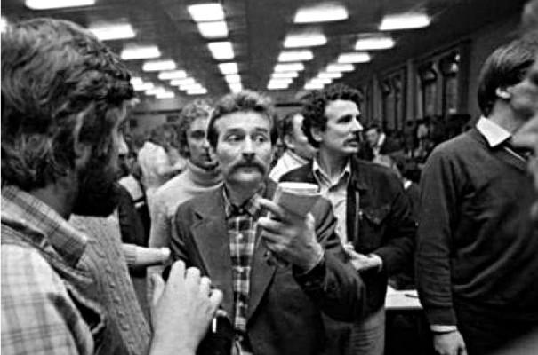 Lech Wałęsa podczas strajku w Stoczni Gdańskiej, 30.08.1980 r. Foto: PAP/CAF
